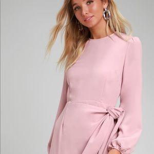 Rose Pink Long Sleeve Tie-Front Skater Dress MED